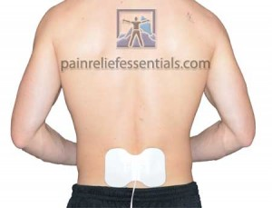man's back with butterfly electrode placement