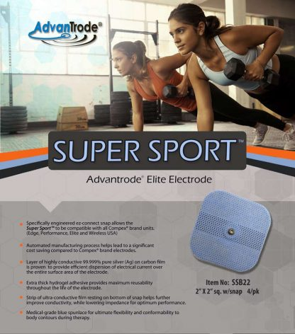 compex compatible 2 x 2 electrode with snap flyer